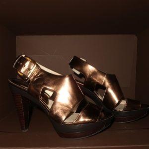 Michael Kors Bronze Wide Strap Heels